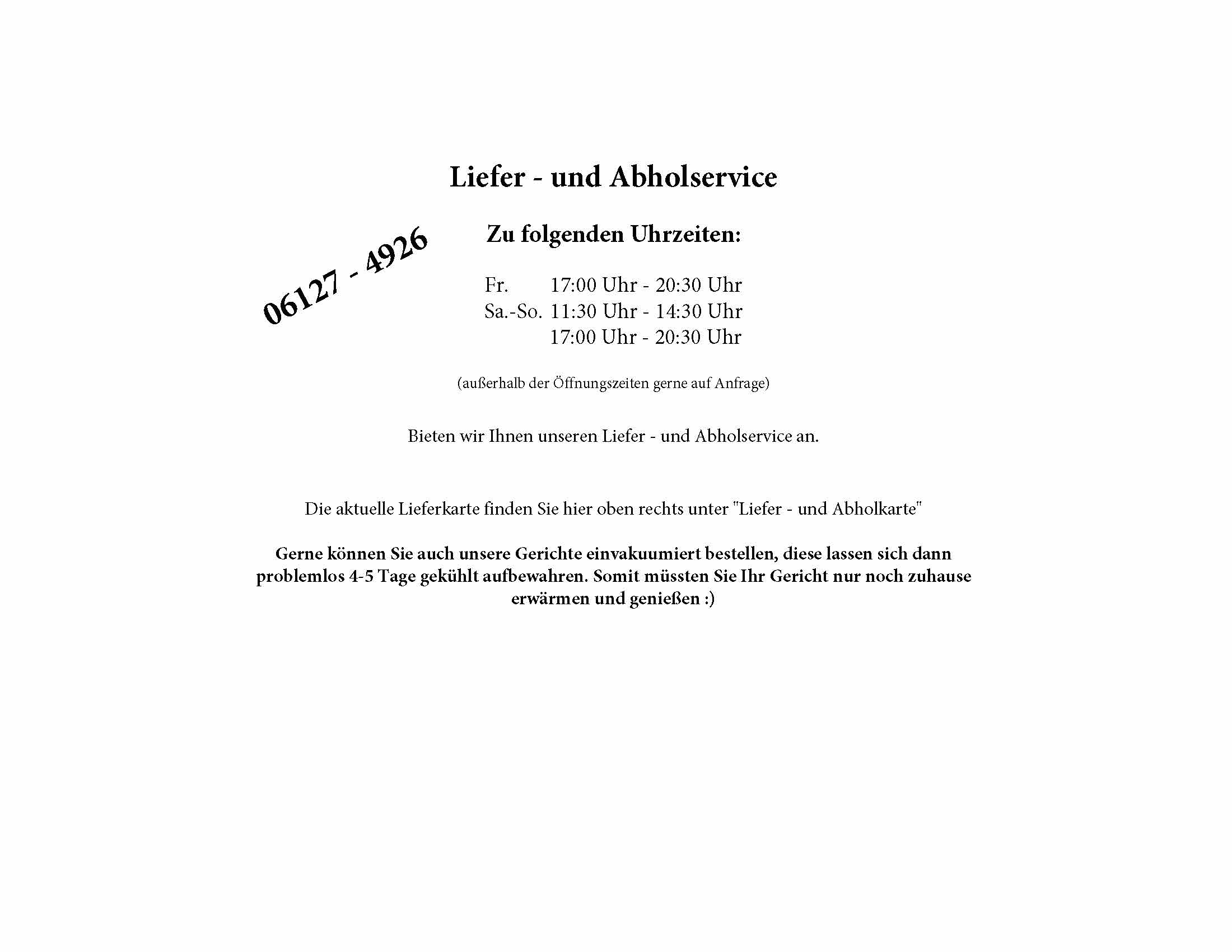 Homepage Lieferservice 3 Tage geöffnet Info